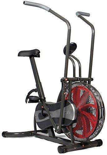 SportPlus Air Bike mit Luft-und Riemenbremssystem, Heimtrainer für Arme und Beine, Trainingscomputer, Nutzergewicht bis 100kg, sicherheitsgeprüft, schwarz-rot, Maße ca.115x70x122cm