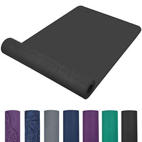 TOPLUS Preumium Yogamatte aus hochwertigen TPE, rutschfest Yogamatte Gynastikmatte Übungsmatte Sportmatte für Yoga, Pilates,Fitness usw.-Schwarz