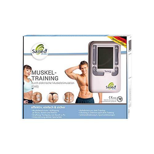 SaneoSPORT Muskeltraining elektrischer EMS TENS Muskelstimulator für Muskelaufbau am gesamten Körper   deutsche Markenqualität