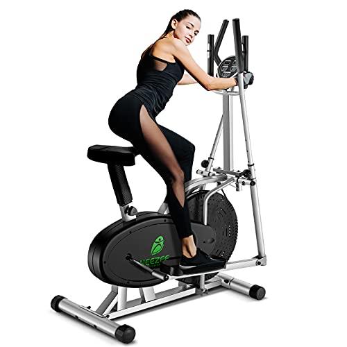 Neezee Upgraded Ellipsen Cross Trainer Mit LCD-Monitor 2 In 1 Sport Rad Trainingsmaschine Maximales Gewicht 265LBS Mit Einstellbaren magnetischen Widerstand Fitness Aerobic-Übungen