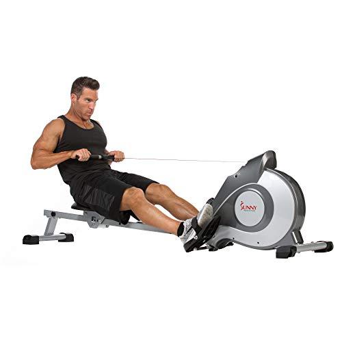 Sunny Health & Fitness Rudergerät mit Magnetwiderstand, LCD-Monitor, 8-stufigem Widerstand, 1117 mm Schrittlänge, 113 kg max. Gewicht - SF-RW5515, Ergometer, Trainingscomputer, Rudermaschine für zuhau