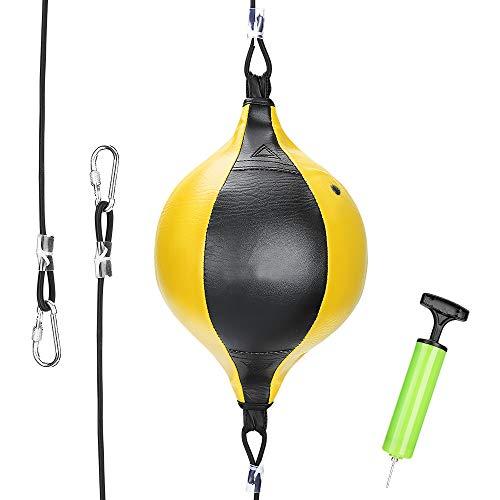 Brynnl Doppelendball Punchingball Boxen Boxbirne Set MMA Boxball Erwachsene Training Speedball Set, 20 cm Durchmesser Boxball für das Reflex- und Boxtraining (Schwartz/ Gelb)