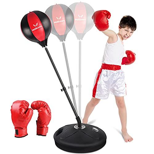 Mdikawe Punchingball Boxstand, 90-120cm Höhenverstellbarer Standbox Trainer Standboxsack mit Boxhandschuhe für Kinder Jugend, Standboxball Freistehend für körperliche Fitness
