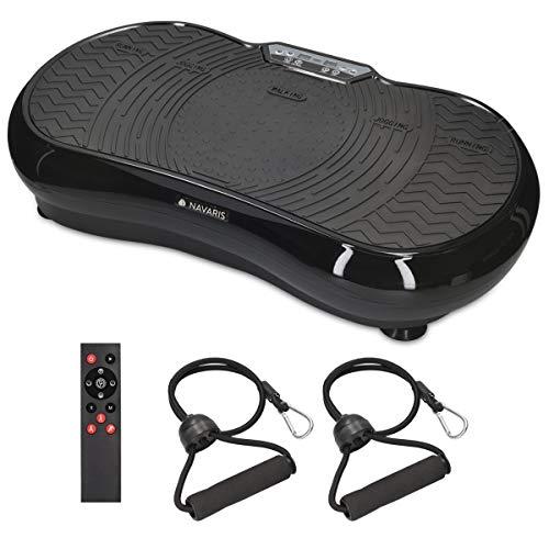 Navaris Vibrationsplatte Ganzkörper Sportgerät - Vibration Shaper Platte Fitness Training Bauch Beine Po - Sport Gerät mit Bändern LCD Display