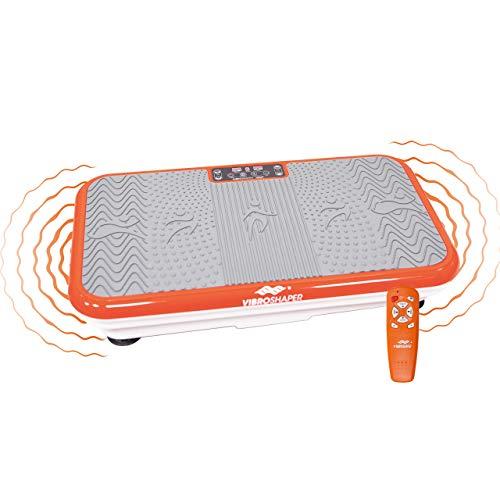 Mediashop VibroShaper – Fitness Vibrationsplatte unterstützt bei Muskelaufbau und Fettverbrennung – Vibrationstrainer für alle Muskelgruppen – inklusive Fitnessbänder - orange