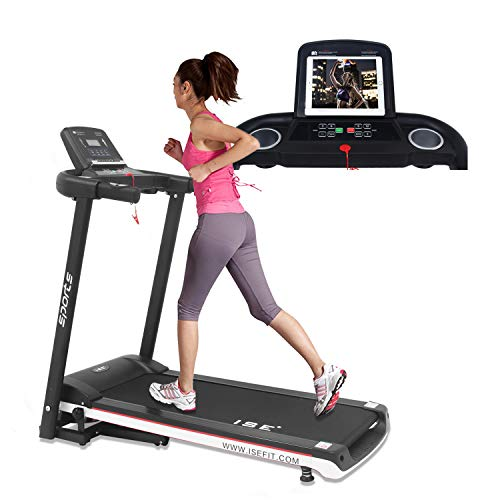 ISE Laufband klappbar Heimtrainer 12.8KM/H für GEH- und Lauftraining mit LCD Bildschirm,12 Trainingsprogramme&Anti-Interferenz,inkl.Zeit,Puls,Geschwind,Entfernung,Kalorienverbrauch für zuhause