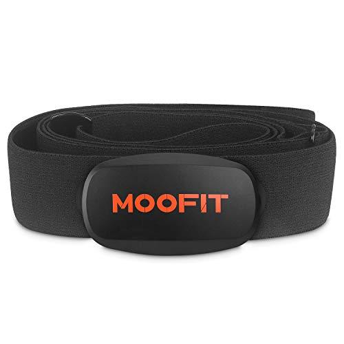 moofit ANT+ Bluetooth Herzfrequenzmesser Brustgurt IP67 Wasserdicht Pulsmesser mit Brustgurt Kompatibel mit Wahoo Fitness, Zwift, Peloton, Elite HRV, Rouvy, Endomondo