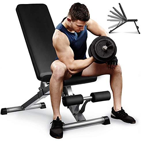 Aebow Hantelbank, verstellbar, faltbar, für Zuhause, Fitnessstudio, Workout, Hantelbänke, Fitness-Set, flache Neigung, für Hebeübungen, Ganzkörper-Krafttraining xl Schwarz