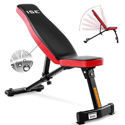 ISE Hantelbank Multifunktion Tranings Fitness Bank klappbar übungsbank verstellbar für Bauch und Bein schrägbank,geprüft und Zertifiziert nach DIN EN 957 (SY-5021)