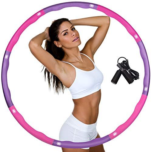 DUTISON Hula Hoop zur Gewichtsreduktion,Reifen mit Schaumstoff Gewichten Einstellbar Breit 48–88 cm beschwerter Hula-Hoop-Reifen für Fitness mit Springseil -Lila und Rosa