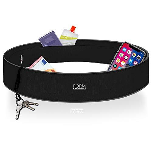 Formbelt Laufgürtel für Handy Smartphone iPhone SE 2020 X XS XR 11 12 Mini Samsung Galaxy A31 A21s Redmi S9 S10 Hüfttasche für Sport Fitness Laufen Bauchtasche zum Laufen (schwarz, M)
