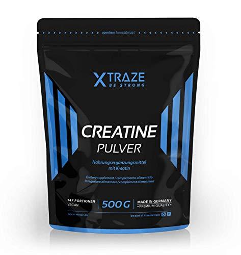 XTRAZE® Creatin Monohydrat Pulver 500 g, Kreatin vegan 100% rein, SIEGER Preis-Leistung 2019, Made in Germany, für Kraftsport, Bodybuilding, Fitness