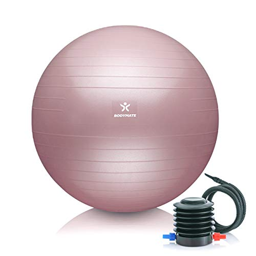 BODYMATE Gymnastikball Sitzball Trainingsball mit GRATIS E-Book inkl. Luft-Pumpe, Ball für Fitness, Yoga, Gymnastik, Core Training, für starken Rücken als Büro-Stuhl Rose 65cm