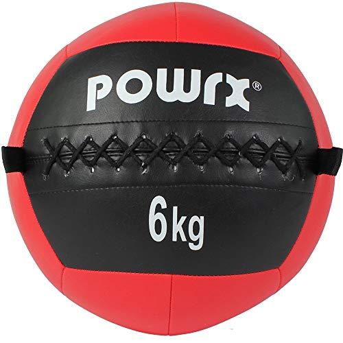 POWRX Wall-Ball Gewichtsball Medizinball Deluxe Professional 2-10 kg   versch. Farben (6 kg/Rot)