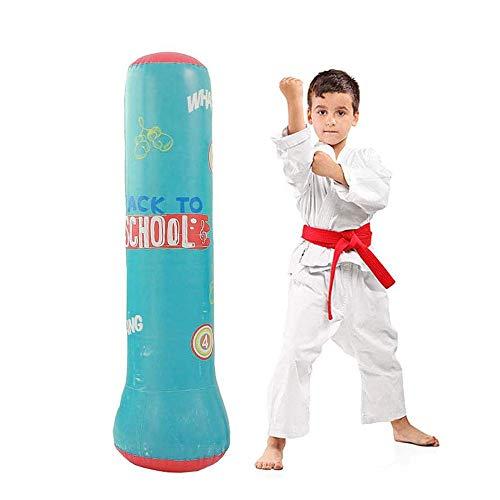 JanTeelGO Boxsack Kinder 120cm, Freistehender Boxsack für sofortiges Zurückprallen zum Üben von Karate, Taekwondo und zur Entlastung von Pent Up Energy bei Kinder (Blau, 120 cm)
