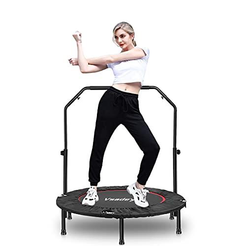 Fitness-Trampolin Ø101 cm, Innen Mini Jumping Trampolin für Erwachsene und Kinder, Faltbarer Rebounder, 4-Fach höhenverstellbarer Haltegriff, Maximale Tragfähigkeit 150 kg