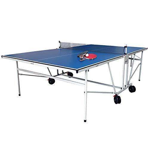 skandika Tischtennisplatte Indoor/Outdoor Stabiler Tischtennistisch mit Sicherheits-Verriegelungssystem, Transportrollen, Netz | schneller Aufbau, klappbar und platzsparend | Alleintraining möglich