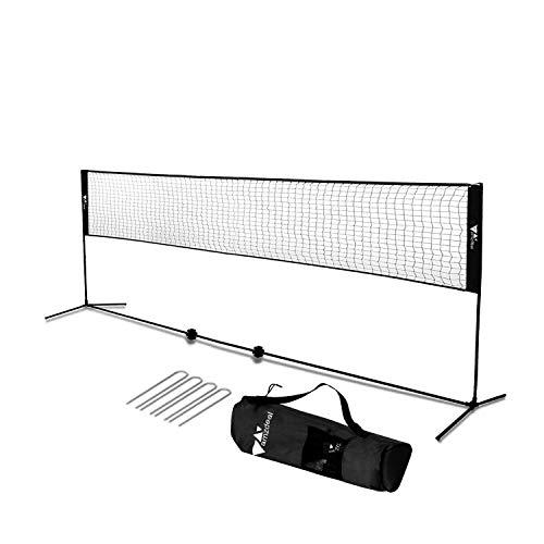 amzdeal Badminton Netz 4.2m Tragbares Volleyball- und Tennis- Netz mit Verstellbaren Höhen faltbares Federballnetz Outdoor Trainingsnetz (Schwarz)