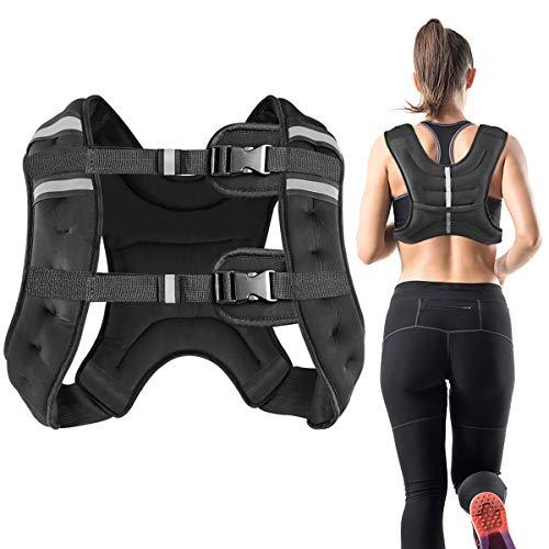 Vailge Gewichtsweste, 2kg/5kg/10kg Laufweste, Training mit Gewichten Trainingsweste für Fitness, Krafttraining, Laufen, Cross Training, Muskelaufbau(Schwarz,10kg)