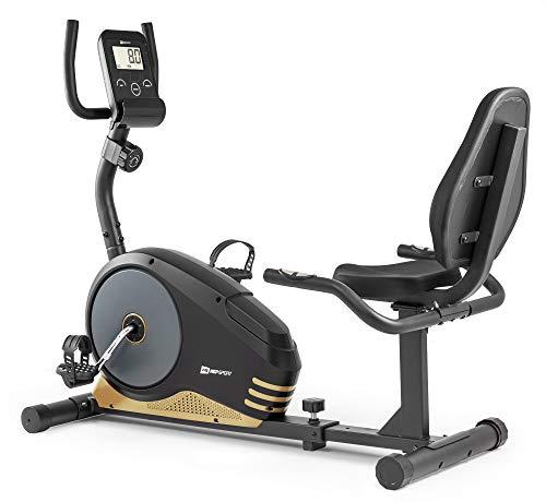 Hop-Sport Root Liegeergometer - Liegeheimtrainer mit Handpulssensoren, 9,5 kg Schwungmasse, 8 Widerstandsstufen - Sitzergometer max. Benutzergewicht 120 kg