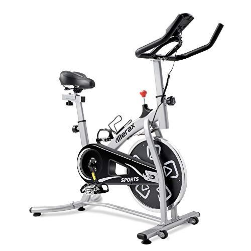 Merax Heimtrainer Fitness Bike,Spin Bike Studio-Fahrräder Trainingsgeräte Einstellbare Lenker & Sitz an Bord Computer liest Geschwindigkeit, Entfernung, Zeit, Kalorien + Puls (Schwarzes Silber)
