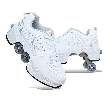 HUOQILIN Rollschuh Roller Skates Lauflernschuhe,Sneakers,2in1 Mehrzweckschuhe Schuhe Mit Rollen Skateboardschuhe,Inline-Skate,Verstellbare Quad-Rollschuh Stiefel Skateboardschuhe,White-37