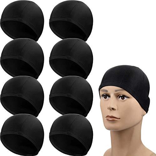SATINIOR 8 Packungen Mann Frauen Nylon Badekappe Pures Schwarz Spandex Stoff Badekappe Badehut für Erwachsene