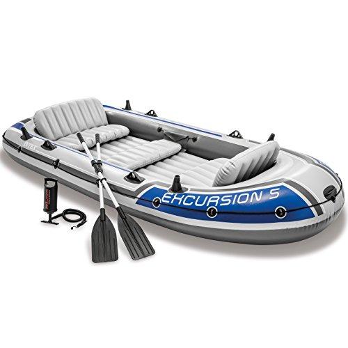 Intex Excursion 5 Aufblasbares Boots-Set mit Aluminium-Rudern und Luftpumpe mit hoher Ausgangsleistung