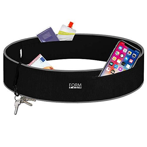 Formbelt® Plus Sport-Bauchtasche mit Reißverschluss, Laufgürtel für Handy Smartphone, elastische Lauftasche iPhone 8 8 Plus X 7 Plus + Samsung Galaxy S8 S9 + Plus Reise-Hüfttasche schwarz L