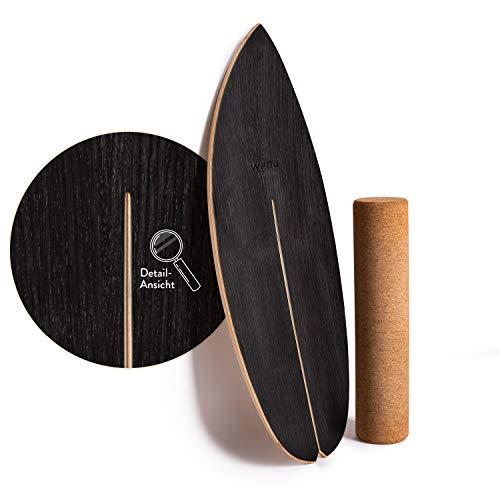 WAHU-Balanceboard (Schwarz) - Trickboard mit einzigartigem Rocker Shape inkl. Rolle - Balance Trainer (100% Holz) | Indoor Balance Board | Wackelbrett für Kinder & Erwachsene