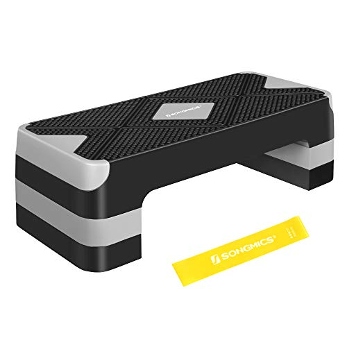 SONGMICS Steppbrett für Aerobic, Stepper mit Widerstandsband, höhenverstellbare (10/15/20 cm) Plattform, 68 x 27 cm Stepbench für Fitness, Workouts zu Hause und im Büro, schwarz-grau STE684G01