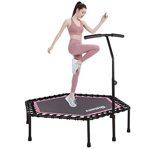 Gielmiy 121,9 cm lautloses Mini-Trampolin, Fitness-Trampolin, Bungee-Rebounder, Jumping, Cardio-Trainer, Workout für Erwachsene – max. Begrenzung 150 kg
