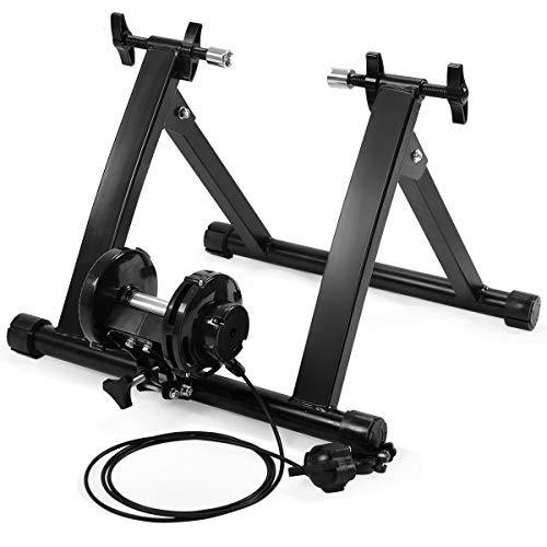 DREAMADE Rollentrainer für Fahrrad mit Einstelllinie & Schnellspanner, Verstellbarer klappbarer Fahrradtrainer aus Stahl, Rollentrainer für 26-28', 150kg belastbar, leise für Zuhause