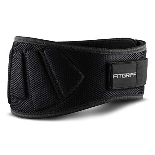 Fitgriff® Gewichthebergürtel V1 - Fitness-Gürtel für Bodybuilding, Krafttraining, Gewichtheben und Crossfit Training - Trainingsgürtel für Damen und Herren (Schwarz, XL)