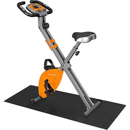 SONGMICS X Bike,Heimtrainer, Fahrradtrainer,Fitnessbike,zusammenklappbares Fitnessfahrrad, 8 magnetische Widerstandseinstellungen, Pulsmessung, Handyhalterung, bis 100 kg belastbar, orange SXB11OG