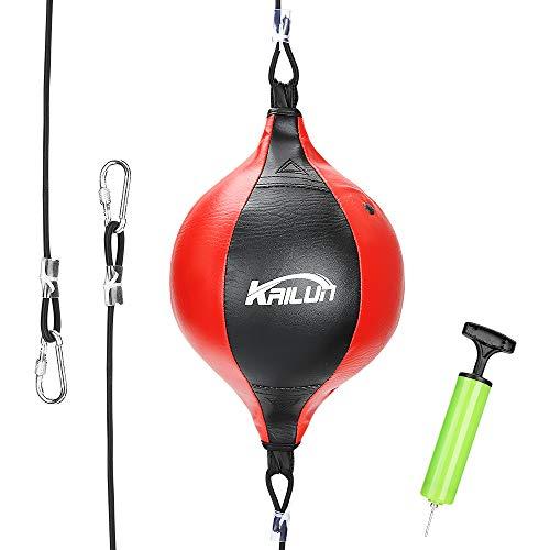 Viktop Doppelendball PU Boxen Boxbirne Doppelter Endgeschwindigkeits Ball Set Drehwirbel Speedball Punchingbälle mit Boxreflexkugel und Pumpe für Fitnessstudio MMA Boxen (20cm)
