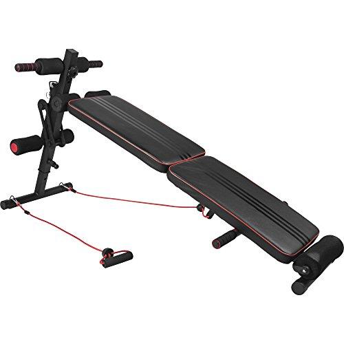 GORILLA SPORTS® Sit-Up Bank mit Seilzügen Schwarz/Rot– Bauchtrainer verstellbar und klappbar bis 100 kg belastbar