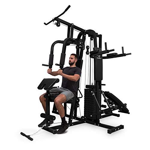 Klarfit Ultimate Gym Kraftstation - multifunktionale Fitnessstation, Trainingsstation, Ganzkörpertraining, inkl. Gewichten, 100 unterschiedliche Übungen, schwarz