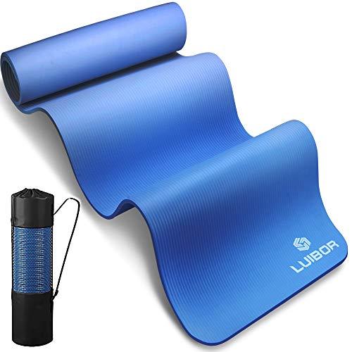 Luibor Yogamatte, Sportmatte Gymnastikmatte fitnessmatte 10 mm dicke Fitness und Trainingsmatte Rutschfeste mit Tragetasche, Benutzerfreundliche Trainingsmatte für Yoga, Training, Pilates (Blue)