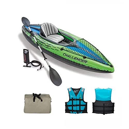 SHENY Aufblasbarer Kajak-Wassersport-tragbares Fischerboot für 1 Person PVC Boot Kajaks 1 Sitzpumpenpaddel 68305