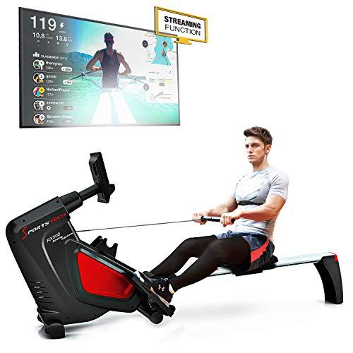 Sportstech RSX500 Rudergerät mit Smartphone-Steuerung - Fitness App - 12 Ruderprogramme - 16 Widerstandsstufen - Wettkampfmodus - Pulsgurt im Wert von 29,90 £ inklusive - Falten, sp_rsx500_black_en, RSX500 - Black