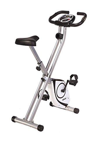 SportPlus Heimtrainer klappbar, Kinomap App, Ergometer Fahrrad, Rückenlehne, Pulsmessung, Trainingsprogramme, 24 Widerstandsstufen, leise & wartungsfrei, X Bike faltbar, Sicherheit geprüft