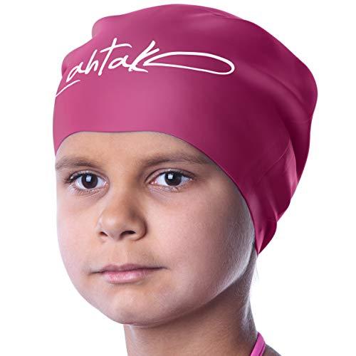 Badekappe Kinder Lange Haare - Badekappe für Mädchen Jungen Kids Teens mit langem lockigem Haar Zöpfe Dreadlocks - 100% Silikon hypoallergene wasserdichte Badehaube (Windsor Wein M)