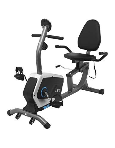 ISE Ergometer Liege- Heimtrainer mit Magnetbremse, Pulssensoren und LCD-Display, 8 Widerstandsstufen, Sitzergometer mit Rückenlehne für Zuhause, SY-6801