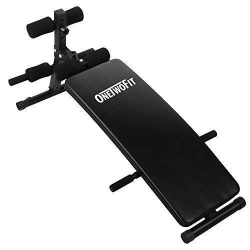 ONETWOFIT Gebogene Sit-Up Bank Trainings-Bank, Bauchtrainer, Crunch Board Slant Board Verstellbares Trainingsgerät für gezieltes Toning und Krafttraining OT085