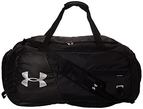 Under Armour Undeniable Duffel 4.0 MD, geräumige Sporttasche, wasserabweisende Umhängetasche Unisex, Black / Black / Silver , Einheitsgröße
