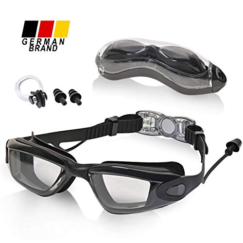 MOIMIR® Schwimmbrille - Verstellbare Schwimmbrillen mit UV-Schutz - wasserdichte Taucherbrille mit Anti-Fog Funktion - für Erwachsene, Herren, Damen und Kinder