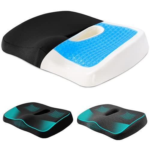 MiiKARE orthopädisches Sitzkissen mit Gel,Memory Schaum Stuhlkissen zur Fördert Durchblutung und Entlastet das Steißbein,2 abwaschbarer Bezug,Ergonomisches Sitzkissen für Autositz,Bürostuhl,Rollstuhl