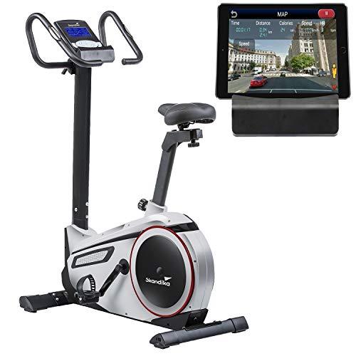 skandika Ergometer Morpheus, Fitnessbike, Heimtrainer mit Steuerung und Street View Funktion, Pulsgurt, 32 einstellbare Widerstandseinstellung und Multifunktionscomputer mit Kalorienverbrauch