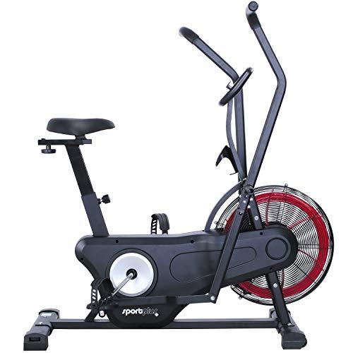 SportPlus Neuerscheinung 2020 Air Bike Indoor Heimtrainer Fahrrad Ergometer für Fitness, Spinning & Crossfit | Crosstrainer für Zuhause | Hometrainer mit Doppel Riemenantrieb Computer | Fanbike